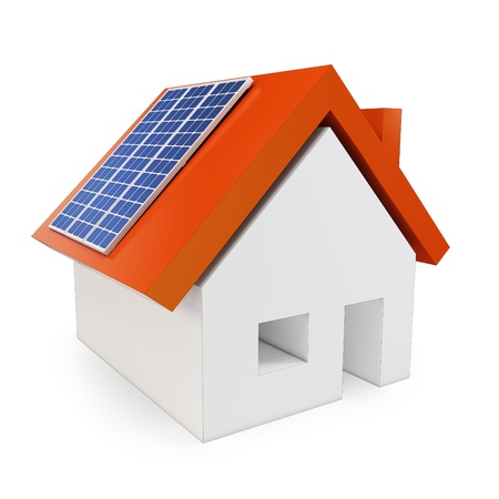 voltaic: 3d house with solar power on white background Stock Photo