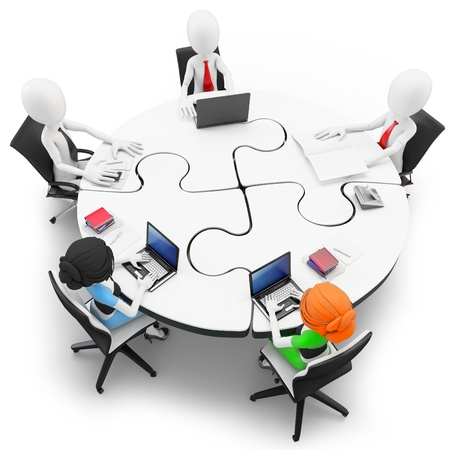 workgroup: 3d man businessman meeting at a round table made of puzzle
