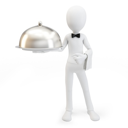 3d man waiter with tray isolated on white photo