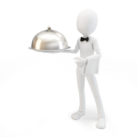 caterer: 3d man waiter with tray isolated on white Stock Photo