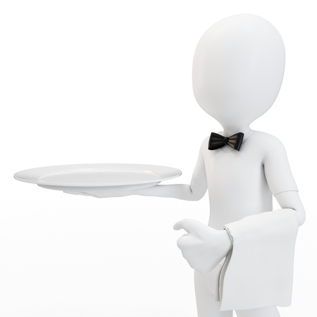3d man waiter with empty tray isolated on white photo