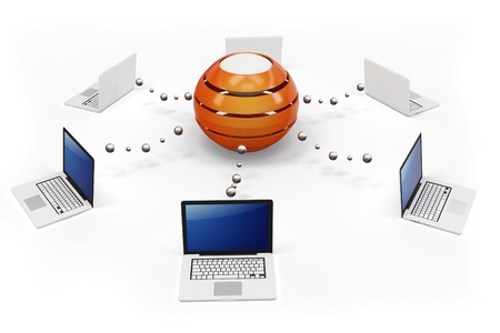 hub computer: 3d computer network with central hub server on white background