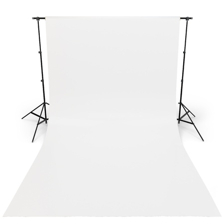 photography themes: 3d White backdrop in photography studio on white background