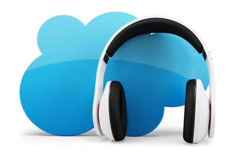 concep: 3d headphone with cloud music concep on white background