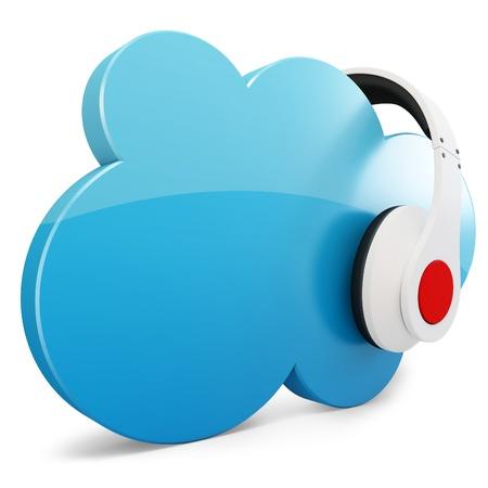 3d hoofdtelefoon met cloud muziek conceptuele op een witte achtergrond