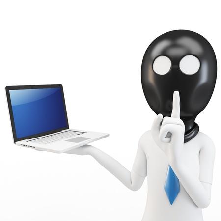3D man hacker met laptop op witte achtergrond