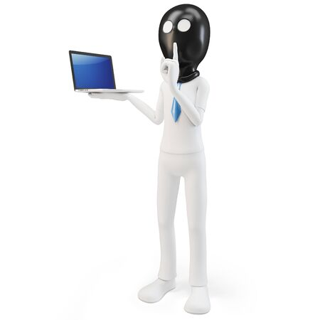 3d man hacker with laptop on white background Stock Photo - 14836207