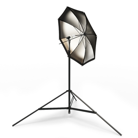 3d studio light with umbrella isolated on white photo