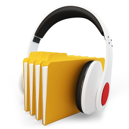 record player: 3d headphones with musci folder on white background