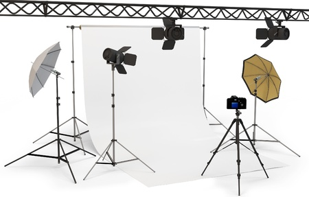 3d empty photo studio interior with equipment on white background  Stok Fotoğraf
