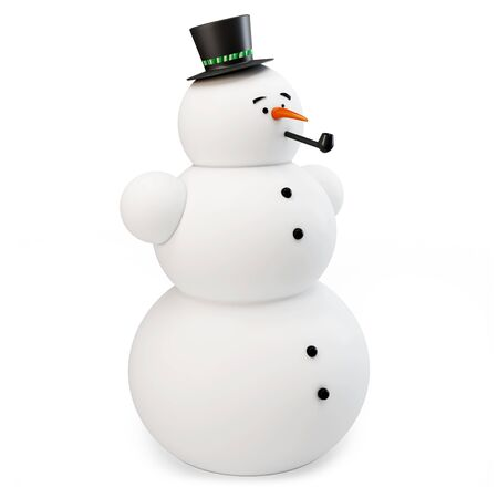 3d snowman with hat and pipe on white background photo