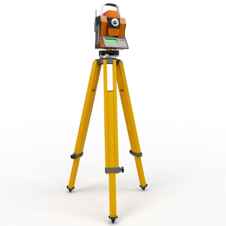 geodesy: 3d total station theodolite  isolated on white