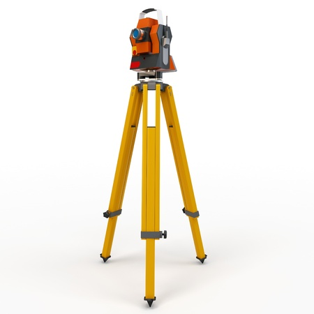 3d total station theodolite  isolated on white photo