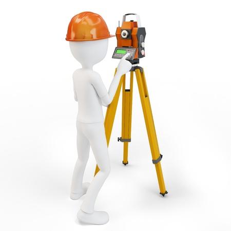 3D man met station landmeetkundige op wit wordt geïsoleerd Stockfoto