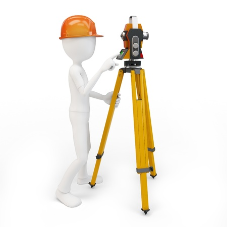 global positioning system: 3d man with station surveying isolated on white