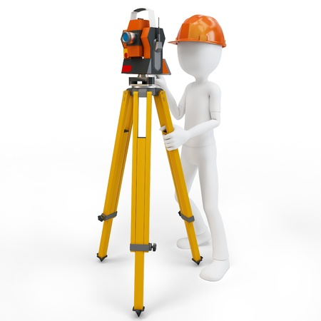 3d man with station surveying isolated on white photo