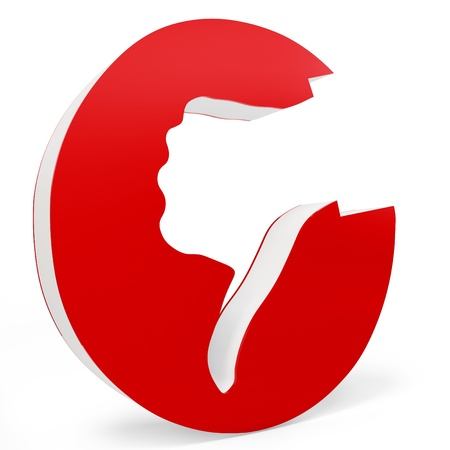 3d thumb down red icon isolated on white photo