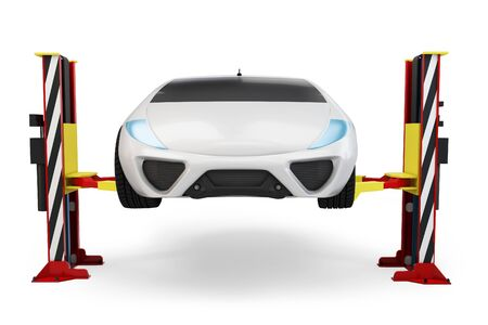 3d car on service elevator on white background Stock Photo - 15393649