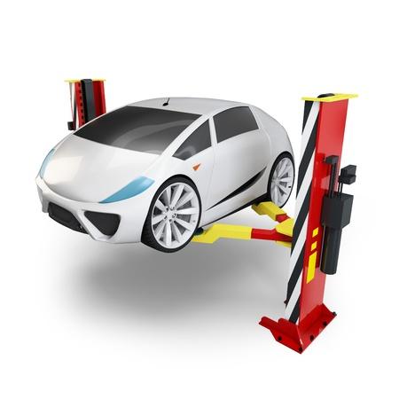 mecanico automotriz: Coche 3d en ascensor de servicio sobre fondo blanco