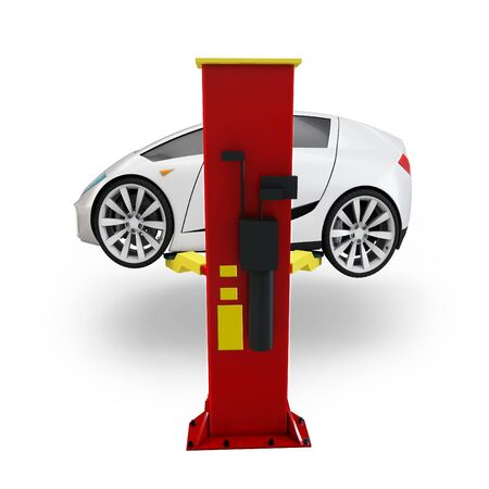 3d car on service elevator on white background Stock Photo - 15393644