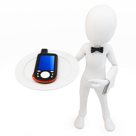 gps device: 3d man with portable gps  device on white background Stock Photo