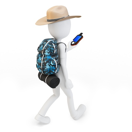 3d man with portable gps  device on white background photo