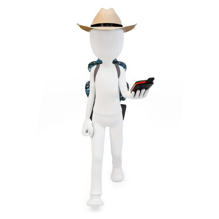 tourist information: 3d man with portable gps  device on white background Stock Photo