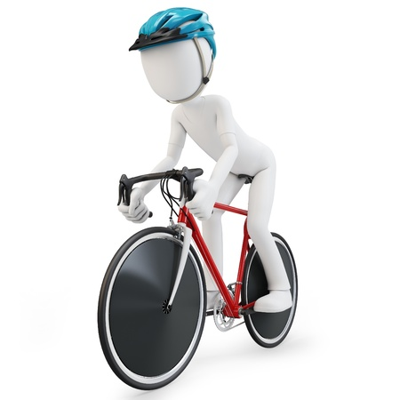 bicycle pedal: 3d man with race bike on white background Stock Photo