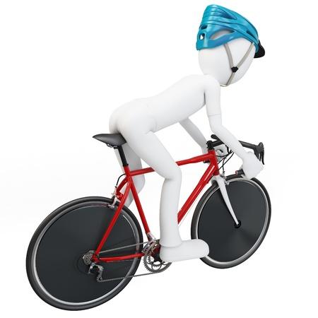 3D man met racefiets op een witte achtergrond Stockfoto