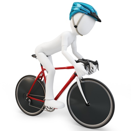 treadle: 3d man with race bike on white background Stock Photo