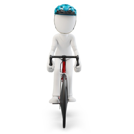 3d man with race bike on white background Stock Photo