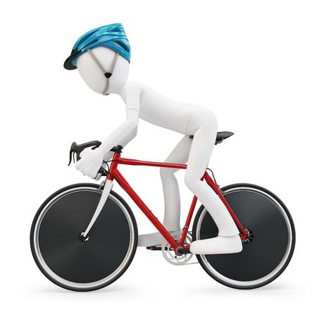 fietsketting: 3D man met racefiets op een witte achtergrond Stockfoto