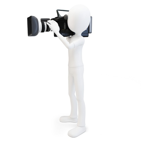 cinematographer: 3d man cameraman with video camera on white background