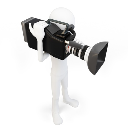 3d man cameraman with video camera on white background photo