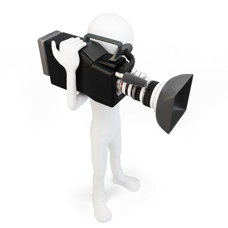 Camarógrafo hombre 3d con la cámara de vídeo en el fondo blanco Foto de archivo