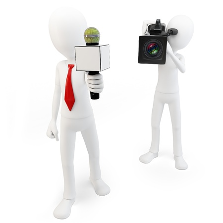 cinematographer: 3d man reporter and cameraman crew on white background