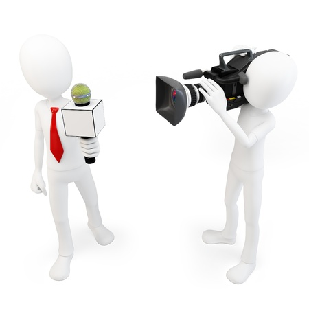 3d man reporter and cameraman crew on white background photo