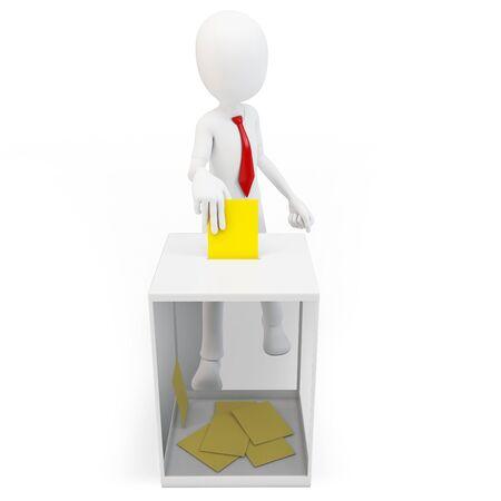 encuestando: Hombre 3d con el empate ante una urna de votación en el fondo blanco