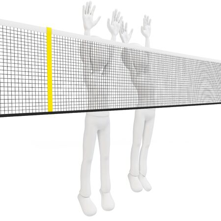 defensive: 3d man volley players blocking on white background