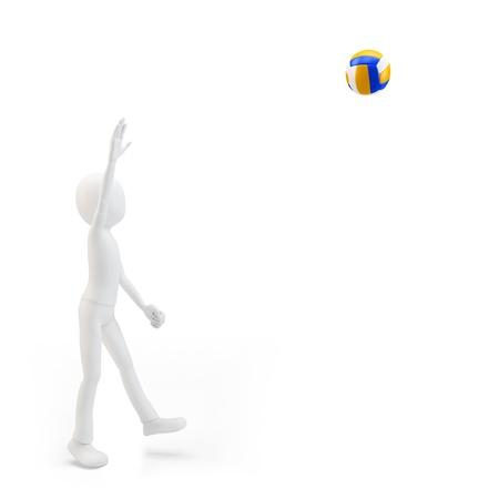 competitividad: Hombre 3d jugador de voleibol voleo sobre fondo blanco