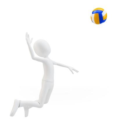 pelota de voley: Hombre 3d jugador de voleibol voleo sobre fondo blanco