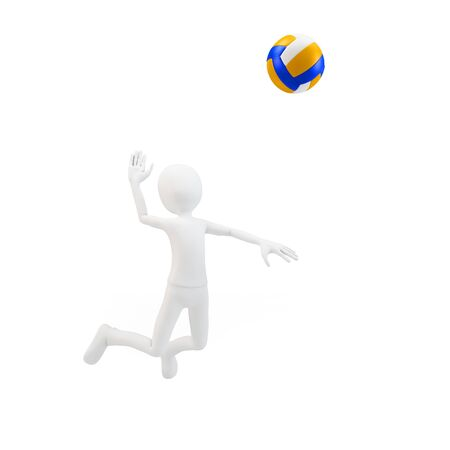 3d man volley player with volleyball on white background Stock Photo - 15730263