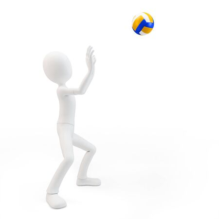 tourney: 3d man volley player with volleyball on white background
