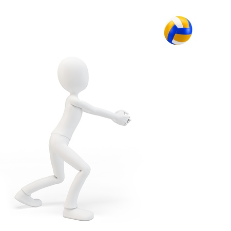 offensive: 3d man volley player with volleyball on white background