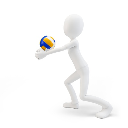volleyball team: 3d man volley player with volleyball on white background
