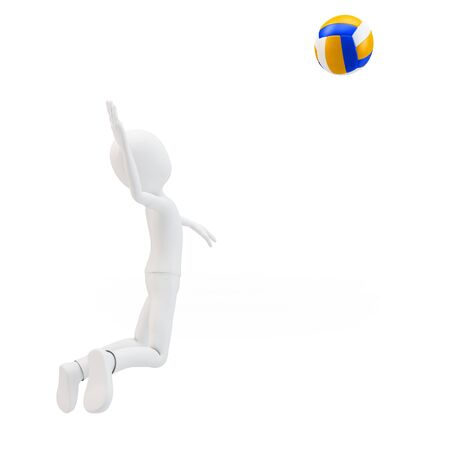 3d man volley player with volleyball on white background photo