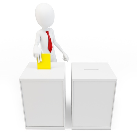 voting paper: 3d man with tie before a ballot box voting on white background