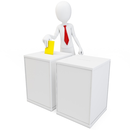 electing: 3d man with tie before a ballot box voting on white background