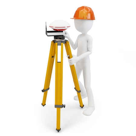 surveying: 3d man with gps station isolated on white Stock Photo