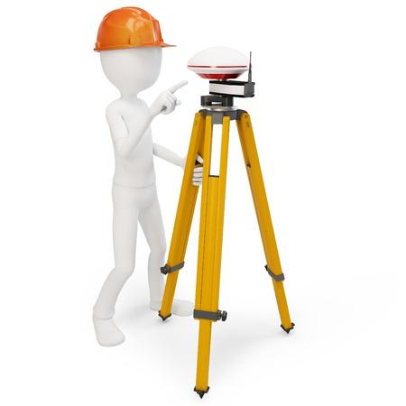 surveyor: Hombre 3d con gps estación aislada en blanco Foto de archivo